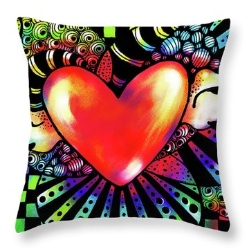 Soaring Heart Coloration Throw Pillow