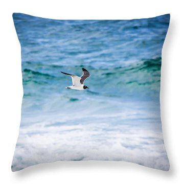 Soaring Over The Ocean Throw Pillow by Shelby Young