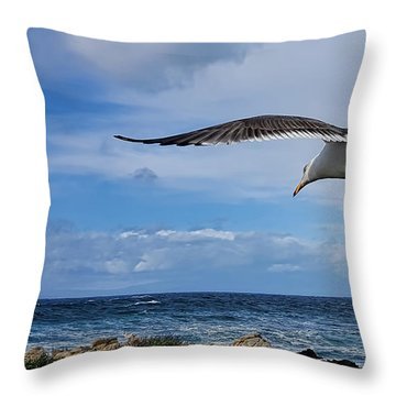 Soaring Seagull  Throw Pillow by Gina Savage