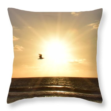 Soaring Seagull Sunset Over Imperial Beach Throw Pillow