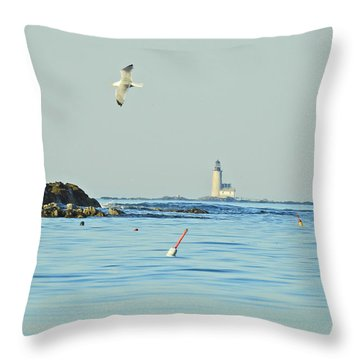 Soaring Seagull Throw Pillow