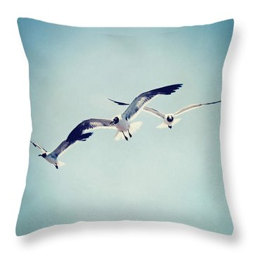 Throw Pillow featuring the photograph Soaring Seagulls by Trish Mistric