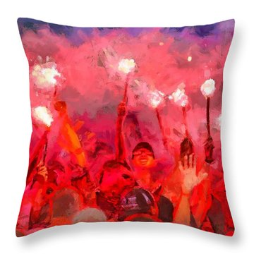 Soccer Fans Pictures Throw Pillow
