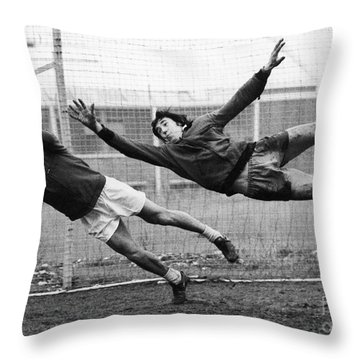 Soccer Goalies, 1974 Throw Pillow by Granger