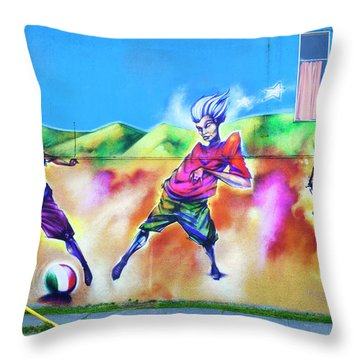 Throw Pillow featuring the photograph Soccer Graffiti by Theresa Tahara