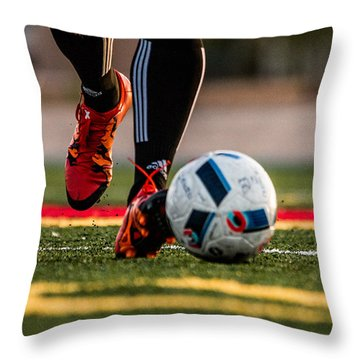 Soccer Throw Pillow by Hyuntae Kim