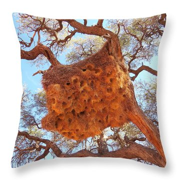 Social Weaver Nest Throw Pillow