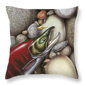Sockeye Salmon Throw Pillow by JQ Licensing