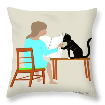 Socks Reads Sunday Paper Throw Pillow by Fred Jinkins