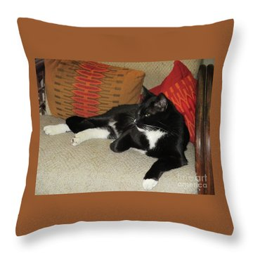 Socks The Cat King Throw Pillow by Fred Jinkins