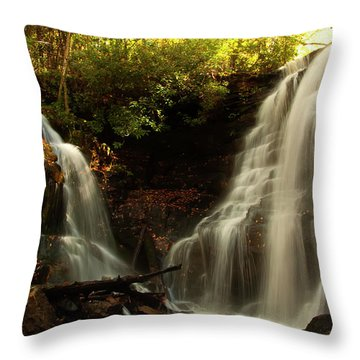 Throw Pillow featuring the photograph Soco Waterfalls From Spillway by Chris Flees