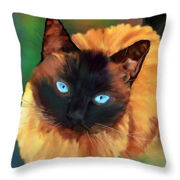 Throw Pillow featuring the digital art Socrates Felis Catus by Iowan Stone-Flowers