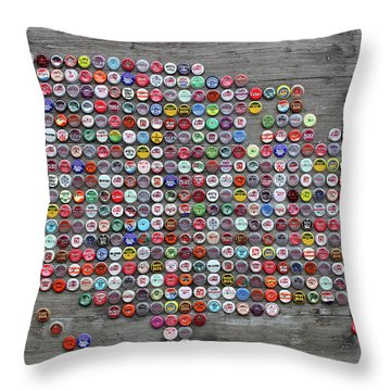 Soda Pop Bottle Cap Map Of The United States Of America Throw Pillow by Design Turnpike