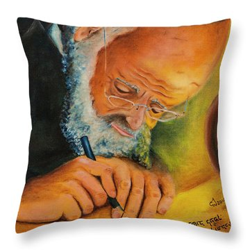 Throw Pillow featuring the painting Sofer Stam by Itzhak Richter