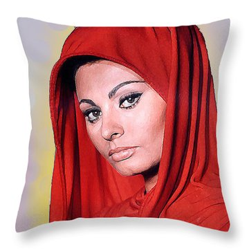 Sofia Loren Throw Pillow by John Keaton