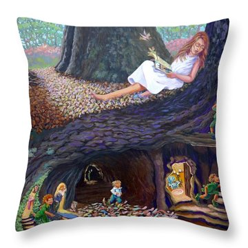 Throw Pillow featuring the painting Sofie's Dream  by Jeanette Jarmon