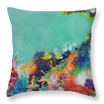 Throw Pillow featuring the painting Soft And Hard Corals by Lyn Olsen