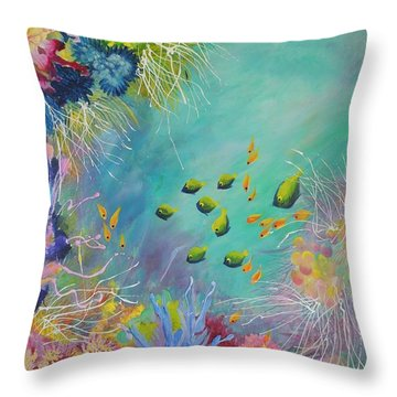 Throw Pillow featuring the painting Soft And Hard Reef Corals by Lyn Olsen