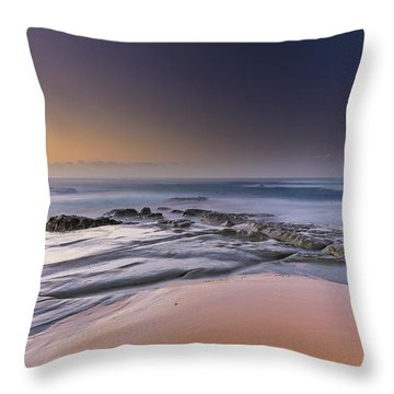 Soft And Rocky Sunrise Seascape Throw Pillow