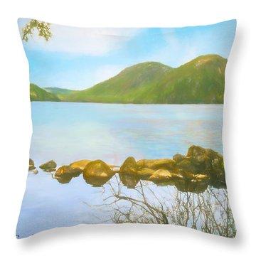 Soft Art Photograph Jordan Pond Acadia Nat. Park Maine Throw Pillow
