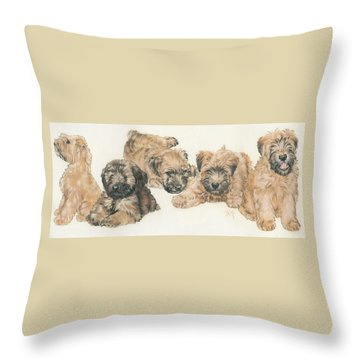 Soft-coated Wheaten Terrier Puppies Throw Pillow by Barbara Keith