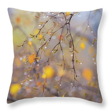 Soft Focus Catkins Throw Pillow