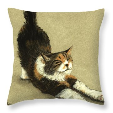Throw Pillow featuring the painting Soft Kitty by Anastasiya Malakhova