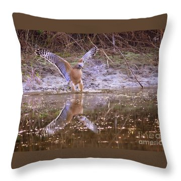Soft Landing On The Pond Throw Pillow by Carol Groenen