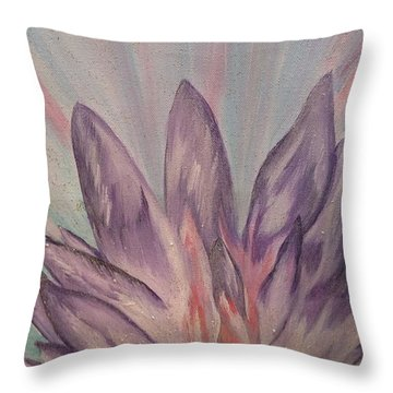 Throw Pillow featuring the painting Soft Memories by Lori Jacobus-Crawford