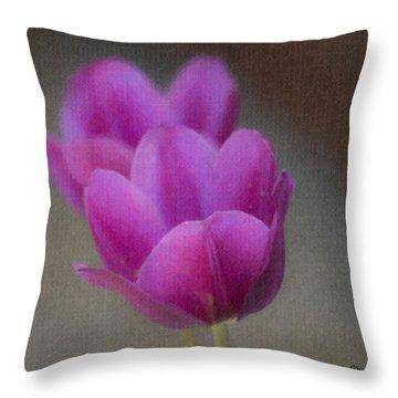 Soft Pastel Purple Tulips  Throw Pillow by Teresa Mucha