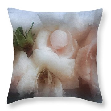 Soft Pink Roses Throw Pillow by Louise Kumpf