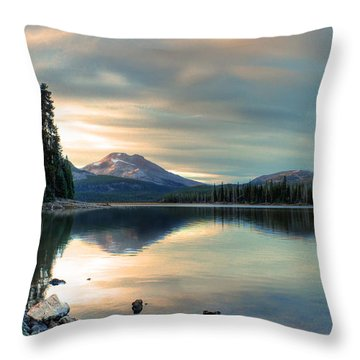 Soft Pink Sky Over Sparks Lake Throw Pillow