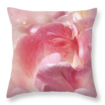 Soft Pink Tulips Throw Pillow