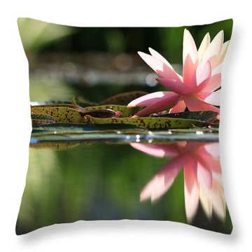 Soft Pink Water Lily Throw Pillow