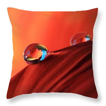 Soft Red Petals With Water Drops Throw Pillow