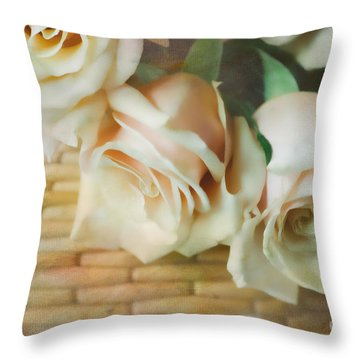 Soft Roses In A Basket Throw Pillow by Iris Greenwell