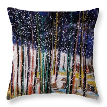 Throw Pillow featuring the painting Soft Snowfall by John Williams