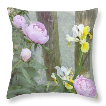 Soft Summer Flowers Throw Pillow