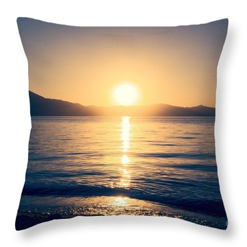 Soft Sunset Lake Throw Pillow