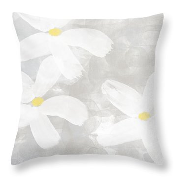 Soft White Flowers Throw Pillow