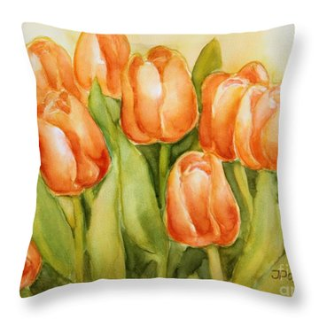 Soft Yellow Spring Tulips Throw Pillow