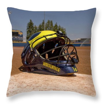 Softball Catcher Helmet Throw Pillow