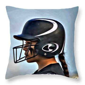 Softball Beauty Girl Throw Pillow