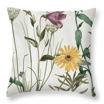 Softly Crocus And Daisy Throw Pillow by Mindy Sommers