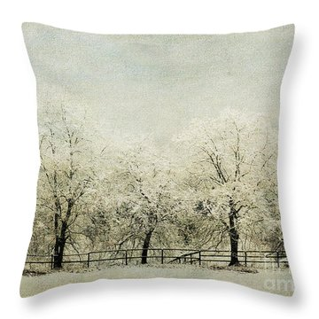 Softly Falling Snow Throw Pillow by Chris Armytage