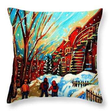Softly Snowing Throw Pillow by Carole Spandau