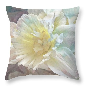 Softly Stands My Daffodil Throw Pillow
