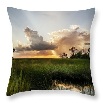 Throw Pillow featuring the photograph Softly The Evening Came With The Sunset by Chris Bordeleau