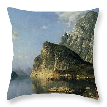 Sogne Fjord Norway  Throw Pillow by Adelsteen Normann