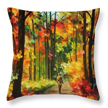 Soild Fall  Throw Pillow by Leonid Afremov